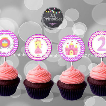Sale printable princess cupcake topper, instant download, digital, princess, theme, cupcake toppers, castle, purple, pink, cute, 300dpi