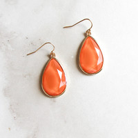 Teardrop Earrings in Orange