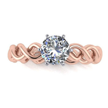 14k Rose Gold Engagement Ring, Moissanite Engagemnt Ring, Ring Promise Ring Right Hand Ring Re00126