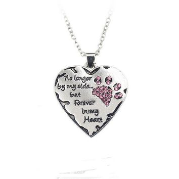 """Kittenup """"No Longer By My Side """"New Fashion Heart Paw Prints Pendant Necklace For Women Love Pet Memorial Jewelry"""
