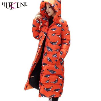 HIJKLNL Wadded Cotton Jacket Women New Winter Coat Female Fashion Warm Parkas Hooded Women's Jacket Casual Coat Plus Size JX034