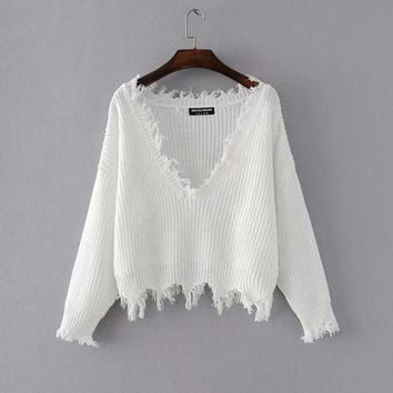Mitchell V-neck Ripped Pullover Sweater