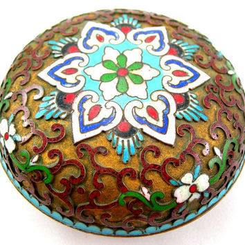 Champleve Cloisonne Trinket Box, Colorful Chinese Enameled Design in Relief, Blue Enamel Interior, Vintage Collectible