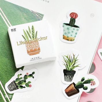 45pcs Kawaii Succulent Plants Sticker Scrapbooking Planner Journal Diary Decoretive Label Gift Packing Stickers Kids Stationery