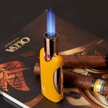 COHIBA Four torch Flame Cigar Lighter Windproof Refillable Butane Gas Metal Lighter Original Jamaican Luxury Gift Box Packing