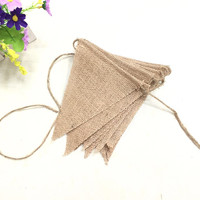 Hot Burlap Jute Bunting Banner For Wedding Triangular Flags Birthday Christmas Party Supplies Photobooth Free Shipping
