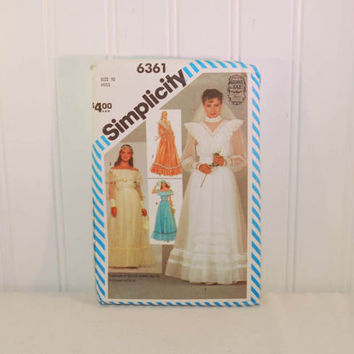 Vintage Simplicity 6361 (c. 1983) Jessica / Gunne Sax, Miss Size 10, Wedding, Bridesmaid Dress Size 10, Prom, Country Charm, Boho, Hippie