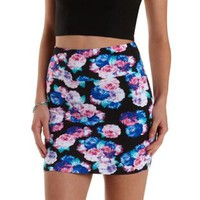 Black Combo Floral Print Bodycon Mini Skirt by Charlotte Russe
