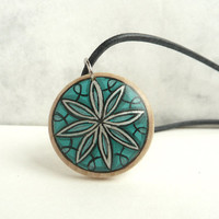 Sacred Geometry Wood Necklace, Hand Painted Pendant, Sacred Geometry Style European Art Necklace, Handmade Jewelry by Artdora Unique Design