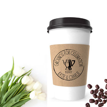 Wedding Coffee Cup Sleeve | Grounds For Celebration Stamp | Vintage Wedding Coffee Favor Bags | Coffee Wedding Favor | Coffee Sleeve Stamp