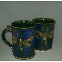 Hand carved by Hilltop Pottery dragonfly mug by HilltopPottery