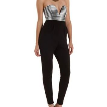 Black Combo Striped Color Block Strapless Jumpsuit by Charlotte Russe