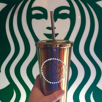 Swarovski Crystal Blinged Starbucks Tumbler Silver Metal Cold Cup