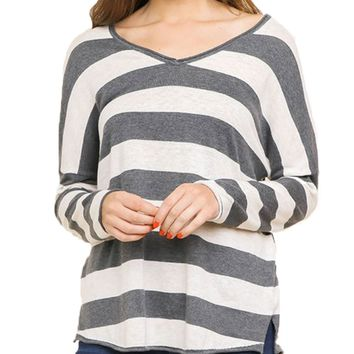Umgee Long Sleeve Pullover Sweater Charcoal