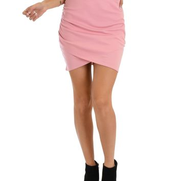 Lyss Loo Pencil It In Ruched Pink Pencil Skirt