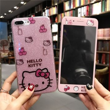 For iphone 8 /7 plus bling case pink Hello Kitty soft TPU Cover for Apple iPhone X / 10 /6 6S 6sPlus Tempered Glass screen film