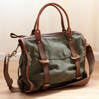 Army green canvas tote /Leather bag/Canvas bag /Shopping bag/ Stitch bag/Shoulder bag/iPad bag