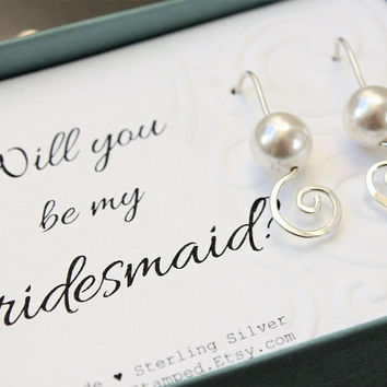 Bridesmaids gifts - sterling silver swirl earrings with Swarovski crystal pearls, Bridesmaids invite of Thank you - select a card