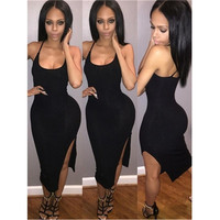 Summer New Round Neck Cross Strap Tight  Sexy Side Slit Dress - int = 1958303492