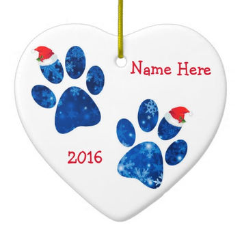 Paw Print Personalized Christmas Ornament - Pet Lover Ornament - Dog Christmas - Pet Lover Keepsake H - Cat Ornament -Dog Lover Ornament