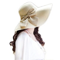 Funnywe Fashion Straw Derby Cap Womens Flax Bow Wide Large Brim Summer Beach Sun Hat