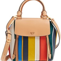 Tory Burch Balloon Stripe Half Moon Leather & Genuine Calf Hair Satchel | Nordstrom