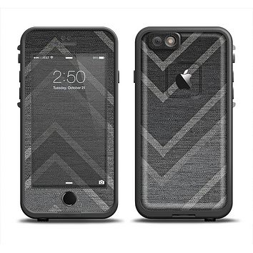 The Two-Toned Dark Black Wide Chevron Pattern V3 Apple iPhone 6 LifeProof Fre Case Skin Set