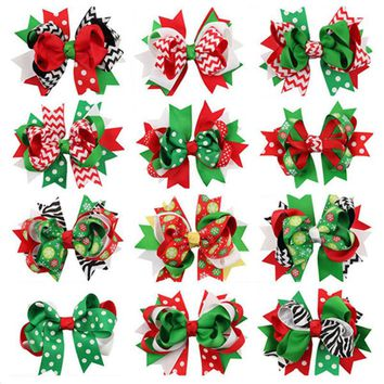 1pc Child Girl Bow Large Layered Boutique Spike Christmas Bows hairpin Clip in Red Green Party Hair Accessary 1pc BB030