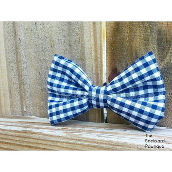 Navy Bow Tie Collar Slider, gingham bowtie, navy and white bowtie, pet bow tie, summer bowties, bowties for pets, gingham and navy neckwear