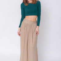 1990's Beige Maxi Skirt - Vintage 90's Brown Cotton Gypsy Hippie Draped Boho Stretchy High Waist Circle Maxi Skirt Size M L