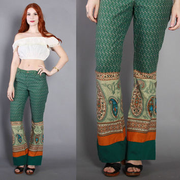 70s High Waist BELL BOTTOMS / 1970s Forest Green PAISLEY Print Ethnic Pants