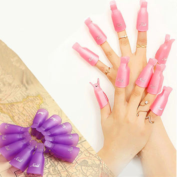 10pcs Nail Art Soak Off Clip Cap Set Plastic UV Gel Nail Degreaser Polish Smart Remover Wrap Manicure Tools Kit