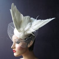 Julia of the Spirits  an ivory white taxidermy bridal feather hat with birdcage veil, Bridal Fascinator, High Fashion