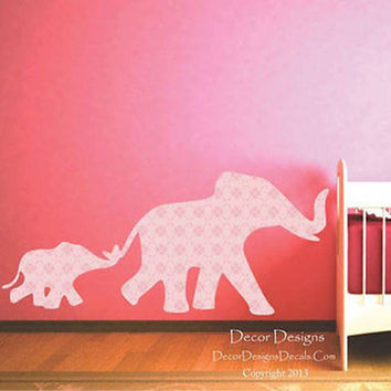 Mom and Baby Elephants Pink Flower Patterned Fabric Repositionable Wall Decal