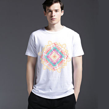 Summer Fashion Print Stylish Short Sleeve Men's Fashion Strong Character Casual Pattern Cotton Tee T-shirts = 6451017859