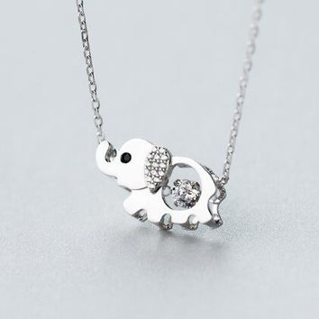 925 sterling silver lovely elephant necklace, a perfect gift