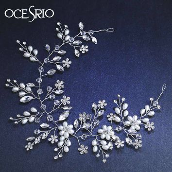 OCESRIO Luxury Floral Wedding Tiara Crown Pearl Flower Bridal Crowns and Tiaras Headpiece Wedding Hair Accessories hab-a02