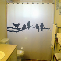Bathroom Shower Curtain Black Birds bird tree branch lovebirds raven crows, unique shower curtains