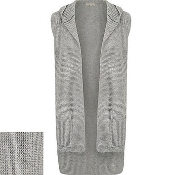 River Island MensGrey knitted sleeveless hooded cardigan