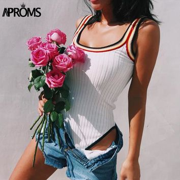 Aproms Colorful Striped Knitted Bodysuits Women Casual Sleeveless Slim Bodycon Rompers Streetwear Jumpsuit Overalls Knitting Top