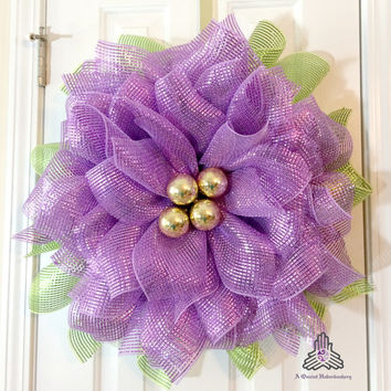 Lavender Metallic Deco Mesh Flower Wreath