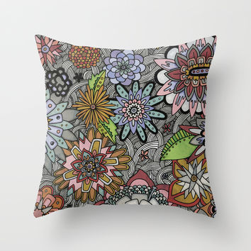 Chalkboard Flowers Throw Pillow by Alliedrawsthings | Society6