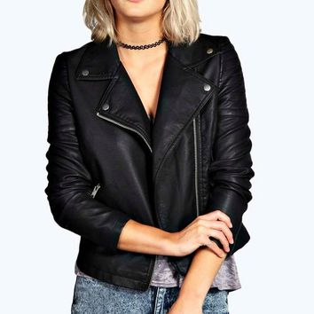 Jade Vegan Leather Biker Jacket | Boohoo