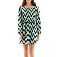 My Michelle Chevron Print Belted Dress