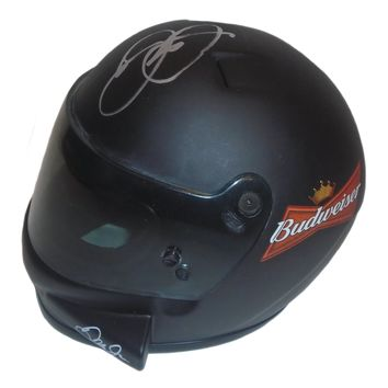 Dale Earnhardt Jr. Autographed 1:3 Scale Nascar #8 Budweiser Mini Helmet, Proof Photo