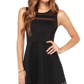 Waiting For My Love Skater Dress -Black