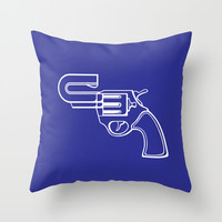 Real Gun Throw Pillow by Tony Vazquez