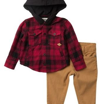 BUFFALO KIDS | Plaid Hooded Top & Jogger Set (Baby Boys) | Nordstrom Rack