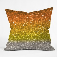 Lisa Argyropoulos Candy Corn Bokeh Throw Pillow
