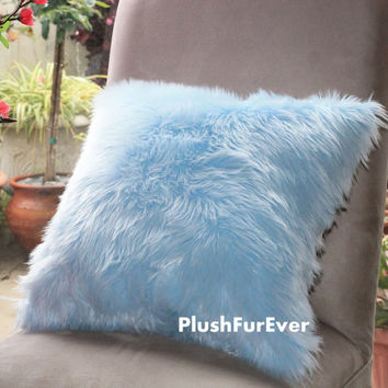 "17""x17"" Light Blue Luxury Shaggy Fur Pillows Faux Fake Fur Pillow (INSERT INCLUDED) super soft pillows Bedding Sofa Pillows decor"
